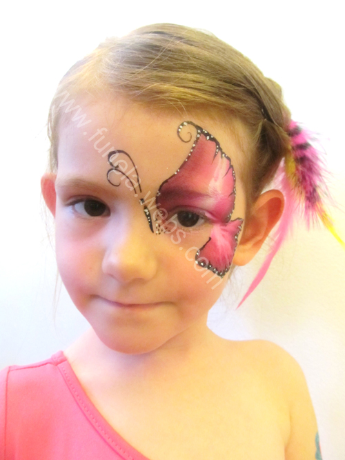face_painting_pink_white_butterfly_design