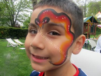 face_painting_red_orange_black_snake